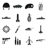 Military icons set, simple style. Military icons set in simple style. Army equipment set collection vector illustration Stock Photo