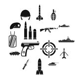 Military icons set, simple style. Military icons set in simple style. Army equipment set collection vector illustration Stock Image