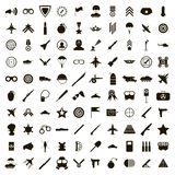 100 military icons set, simple style. 100 military icons set in simple style on a white background Royalty Free Stock Photography