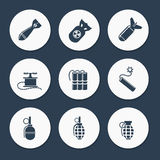 Military icons set vector Royalty Free Stock Photos