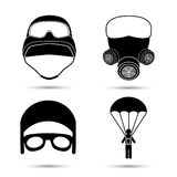 Military Icons. Vector set isolated on white. Helmet, gas mask, parachute Stock Photo