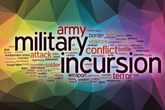 Military incursion word cloud with abstract background Royalty Free Stock Photo