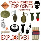 Military and industrial explosives. Explosive substances and objects used in industry and military affairs. Illustration on white background Stock Photos
