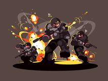 Military infantry soldiers in battle. Dangerous explosions and shots. Vector illustration Royalty Free Stock Images