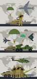 Military Infographic Banner with World Map. Vector. Military infographic banners with world map on background. Military soldier or officer with weapons. Airborne Stock Images