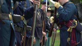 Military inspection of Civil War soldiers stock video