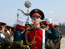 Military instrumentalist in the ranks Royalty Free Stock Photo