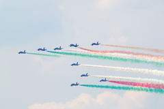 Military italian aircrafts let smoke Royalty Free Stock Photos