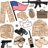 Military Items. An illustration of various items used by the military Stock Photo
