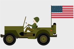 Military jeep with a soldier and an american flag stock illustration