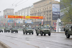 Military jeeps. Driving by Moscow street. The dress rehearsal of the Victory Day parade Royalty Free Stock Photo