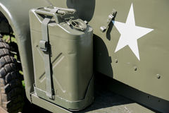 Military jerrycan on a truck Royalty Free Stock Image