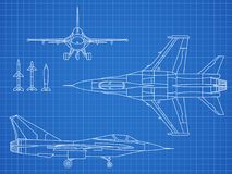 Military jet aircraft drawing vector blueprint design. Aircraft military plan blueprint illustration vector illustration