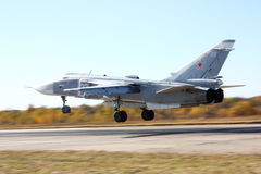 Military jet bomber  on launch. Military jet bomber  Su-24on launch Royalty Free Stock Photos