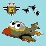 A cute warplane cartoon fly on air force squadron with a military logo. Military jet cartoon. Vector cartoon illustration, no mesh, vector on eps 10 Royalty Free Stock Photo