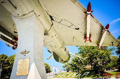 Military jet fighter MIG 21 with missiles monument Royalty Free Stock Photography