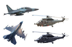 Military jet plane and helicopter. Isolated white Stock Photography