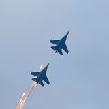 Military jet planes launches anti-missile Stock Photos