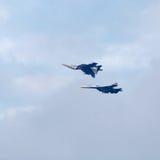 Military jet planes showing aerobatics Royalty Free Stock Image