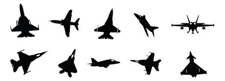 Military jets. Set of illustrated military fighter jet silhouettes Royalty Free Stock Photos