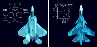 Military jets aircraft f-22 and su-34 HUD. Aviation illustration air fighter hud top gun Stock Photography