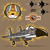 Military jets with funny pilot cartoon. Air force squadron with funny pilot head. Vector cartoon illustration, no mesh, vector on eps 10 Stock Photography
