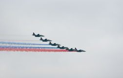 Military jets painting Russian flag Stock Photography