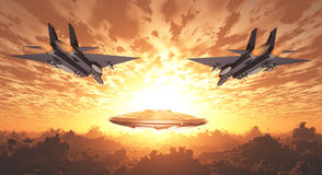 Military Jets Pursue UFO Royalty Free Stock Images
