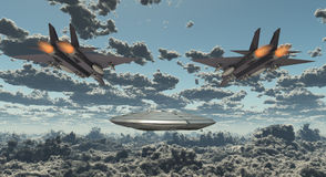 Military Jets Pursue UFO Stock Images