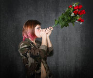 Military joint red roses Royalty Free Stock Images
