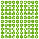 100 military journalist icons hexagon green. 100 military journalist icons set in green hexagon isolated vector illustration Royalty Free Stock Images