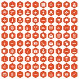100 military journalist icons hexagon orange Stock Photo