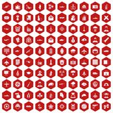 100 military journalist icons hexagon red. 100 military journalist icons set in red hexagon isolated vector illustration stock illustration
