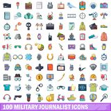 100 military journalist icons set, cartoon style. 100 military icons set. Cartoon illustration of 100 military vector icons isolated on white background stock illustration