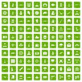 100 military journalist icons set grunge green. 100 military journalist icons set in grunge style green color isolated on white background vector illustration Stock Photo