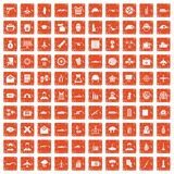 100 military journalist icons set grunge orange. 100 military journalist icons set in grunge style orange color isolated on white background vector illustration Royalty Free Stock Photography