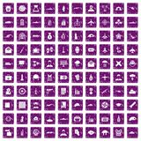 100 military journalist icons set grunge purple. 100 military journalist icons set in grunge style purple color isolated on white background vector illustration Stock Photos