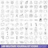 100 military journalist icons set, outline style. 100 military journalist icons set in outline style for any design vector illustration Stock Images