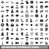 100 military journalist icons set, simple style Stock Photography