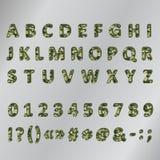 Military khaki 3d font. Army volume alphabet with khaki texture Royalty Free Stock Photos