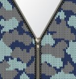 Military knitted texture with lock vector illustration