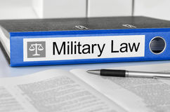 Military Law. Blue folder with the label Military Law Royalty Free Stock Photos