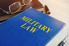 Military Law code on a desk. Stock Images