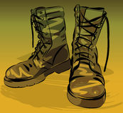 Military leather worn boots vector illustration Royalty Free Stock Photography