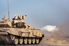 Military life. War. shooting tank. Desert. Russian tank. royalty free stock photo