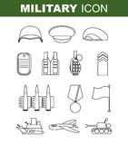 Military line icon. Set army symbol. Soldiers helmet. Green bere Royalty Free Stock Images