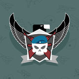 Military logo. skull with wings on the shield Stock Photography