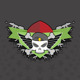 Military logo. skull with wings on the shield Stock Photos
