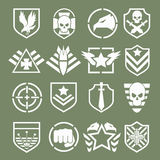 Military logos of special forces. Set. Army shield, wing and skull. Vector illustration Stock Photography