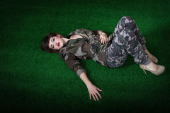 Military lying down Royalty Free Stock Photography